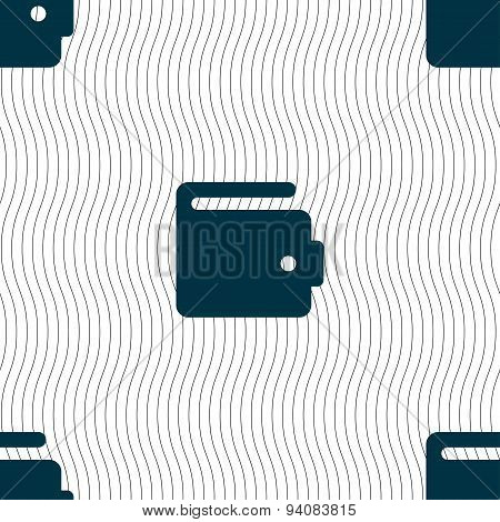 Purse Icon Sign. Seamless Pattern With Geometric Texture. Vector