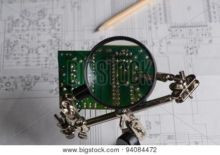 Electronic Circuit Board Isolated On A White