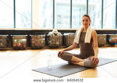 Good Looking Woman In Pilates Class