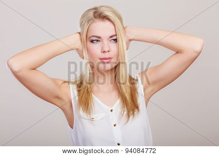 Closeup Stressed Business Woman Covers Ears With Hands