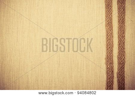 Jute Ribbon On Linen Cloth Background