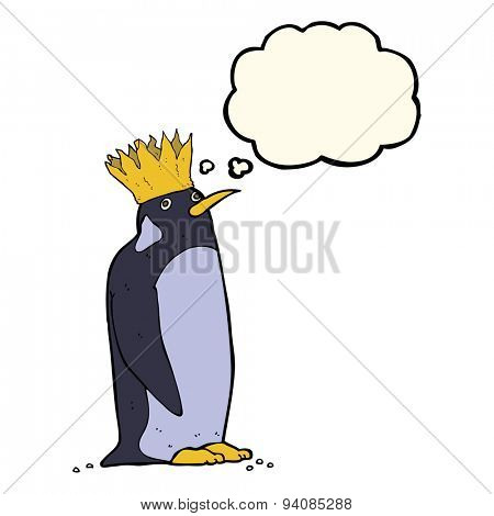 cartoon emperor penguin with thought bubble