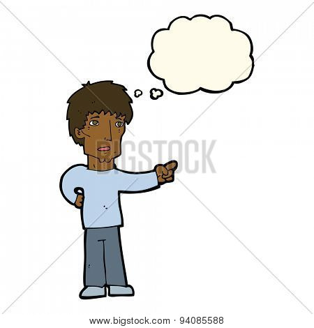 cartoon pointing man with thought bubble
