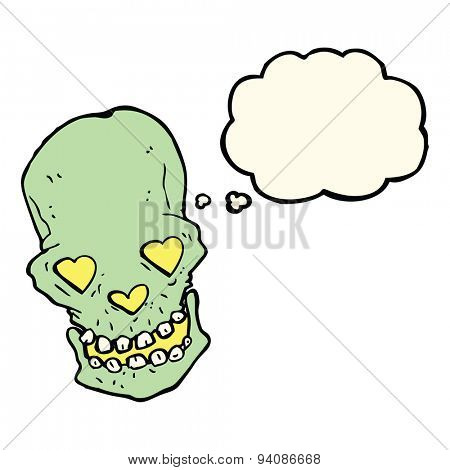 cartoon skull with love heart eyes with thought bubble