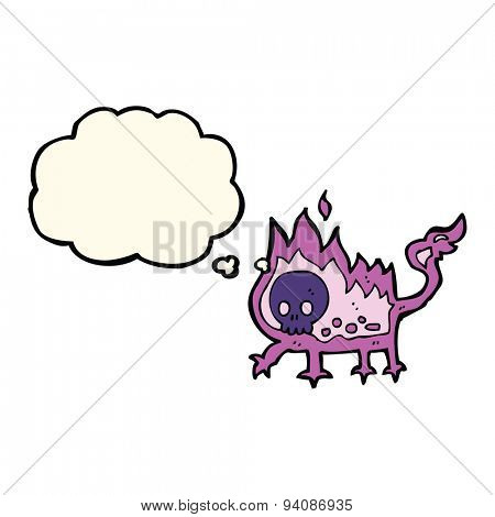 cartoon little imp with thought bubble