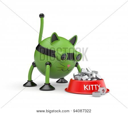 The cat robot stands about the bowl of food
