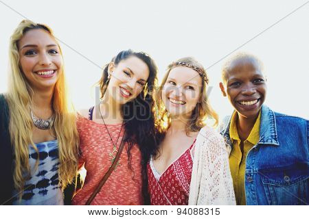 Women Friends Bonding Happiness Summer Concept