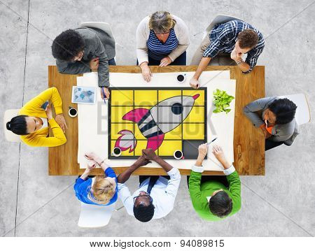 Start up Technology Growth Success Game Puzzle Concept