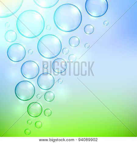 Soaring  bubbles background with copy space.