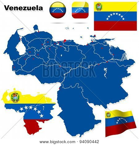 Venezuela set. Detailed country shape with region borders, flags and icons isolated on white background.