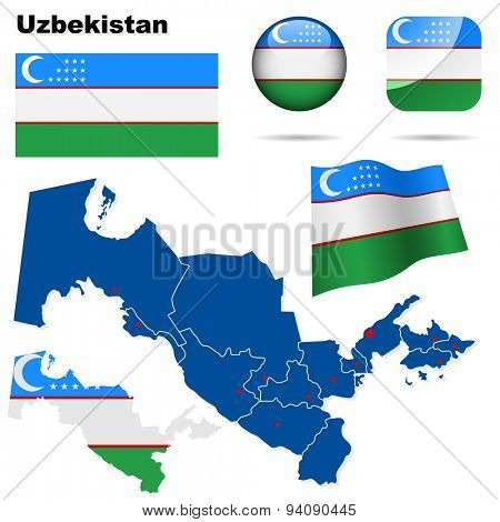 Uzbekistan set. Detailed country shape with region borders, flags and icons isolated on white background.