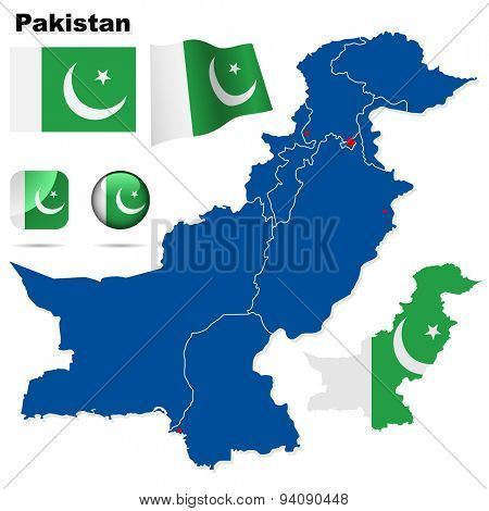 Pakistan set. Detailed country shape with region borders, flags and icons isolated on white background.