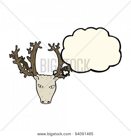 cartoon stag head with thought bubble