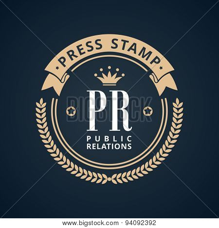 Stamp calligraphic design logo. Luxury vector frame monogram emblem. Symbol ornament line icon