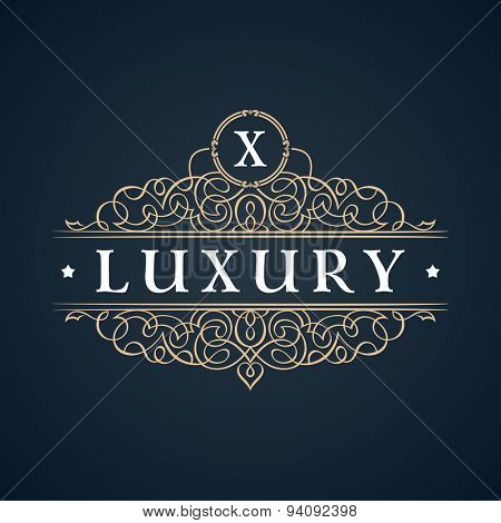 Calligraphic Luxury logo. Emblem ornate decor elements. Vintage vector symbol ornament X