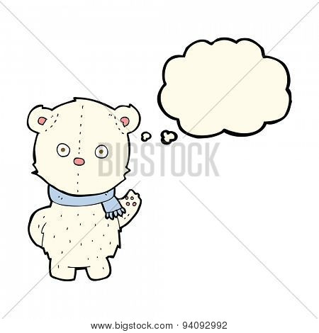 cartoon waving polar bear cub with thought bubble