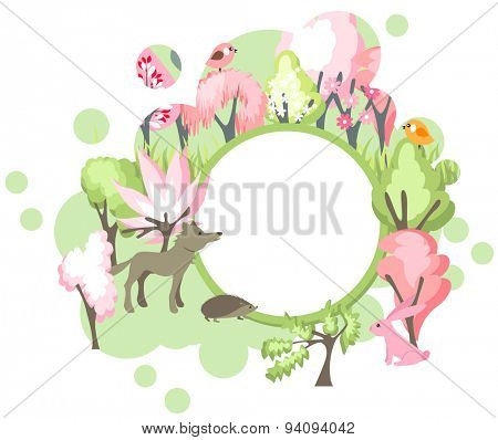 Festive banner with spring forest landscape and wild animals - wolf, fox, hedgehog and hare