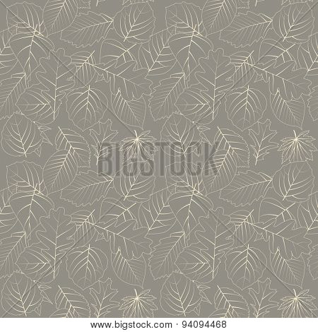 Seamless pattern with contour leaves. Beige soft color