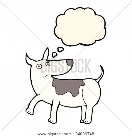funny cartoon dog with thought bubble