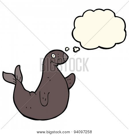cartoon seal with thought bubble