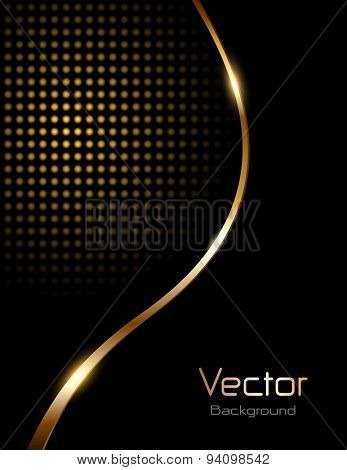 Abstract background black with gold wave and dotted pattern, vector