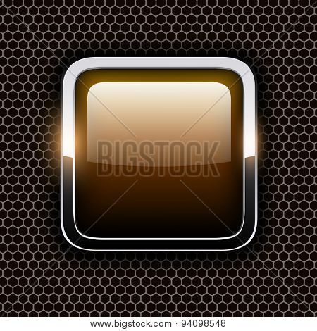 Empty icon with chrome metal frame, Rounded square golden button with hexagon texture background, vector illustration.