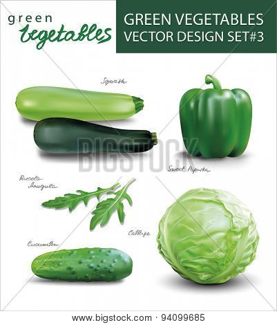 Green vegetables vector design set 3.