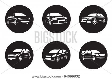 set of six black car icons