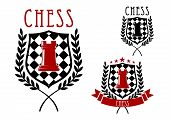picture of chessboard  - Chess tournament emblems or badges including red rook on chessboard shield - JPG