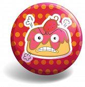 stock photo of custard  - Angry custard on polka dot badge - JPG