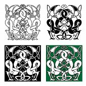 stock photo of celtic  - Medieval dragons with entwined tails and wings in traditional celtic knot ornaments for tattoo or heraldry design - JPG