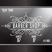 pic of barbershop  - Vintage barber shop window advertising design template - JPG