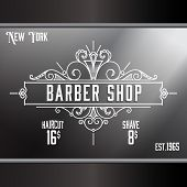picture of barbershop  - Vintage barber shop window advertising design template - JPG