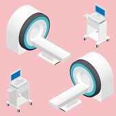 picture of mri  - MRI and ECG medical devices isometric icon set vector graphic illustration - JPG