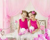 pic of congratulation  - Girls Birthday Little Kids in Retro Pink Dress with Present Gift Box Children Artists Congratulation - JPG