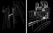 picture of freehand drawing  - Vector background with freehand drawings of city - JPG