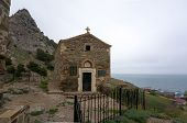 foto of chapels  - old chapel on the background of mountains and sea in Sudak Crimea - JPG