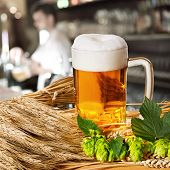 image of spigot  - beer and hops and barley in the pub - JPG