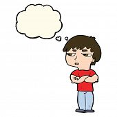 picture of annoyance  - cartoon annoyed boy with thought bubble - JPG