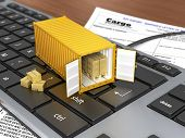 stock photo of ship  - Opened ship container with boxes on the keyboard - JPG