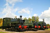 pic of locomotive  - Old vintage locomotive steam train with plenty of copy space - JPG