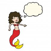 image of mermaid  - cartoon mermaid with thought bubble - JPG