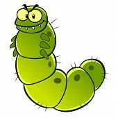 picture of green caterpillar  - Cartoon green evil caterpillar - JPG