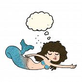 stock photo of mermaid  - cartoon mermaid with thought bubble - JPG