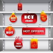 picture of racks  - Hot sale clearance discount prices red  wobblers on empty department store display racks advertisement realistic vector illustration - JPG