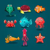 stock photo of creatures  - Cute sea life creatures cartoon animals set with fish octopus jellyfish isolated vector illustration - JPG