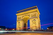 picture of bonaparte  - Arc de Triomphe in Paris at night - JPG