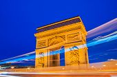 pic of bonaparte  - Arc de Triomphe in Paris at night - JPG