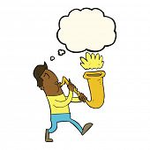 stock photo of saxophone player  - cartoon man blowing saxophone with thought bubble - JPG