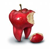 stock photo of molar  - Tooth loss concept as a red apple shaped as a human molar with a bite taken out of it as an icon for for human teeth health and oral hygiene or dentistry service metaphor on a white background - JPG